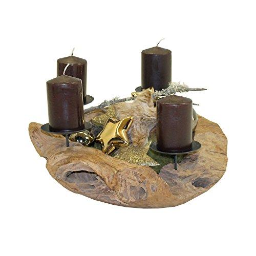 Trendy-Home Teak Adventskranz Ø 50 cm Weihnachtsdekoration Kerzenpicks Holzschale Holzkranz