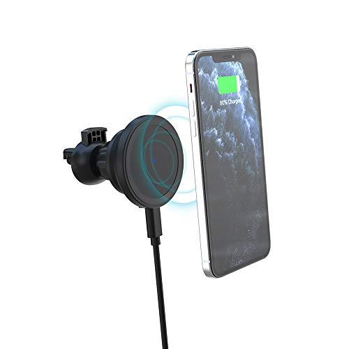 HaavPoois Cargador de Coche USB, Cargador Rápido de Coche, Adaptador USB 15W Cargador Min Ultrafino Inalámbrico Magnético para Coche (Negro)