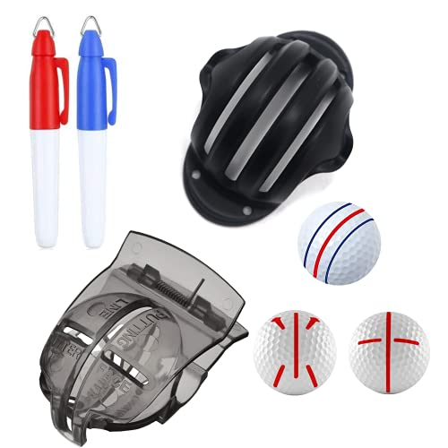FAVORGEAR Golf Ball Line Marker Kit,Golf Ball Marker Tool for a Better Alignment,3-Line Golf Ball Accessories with Two Sharpie Mini for Perfect Putting,Golf Gifts for Men and Women