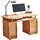 RayGar Beech Deluxe <span class='highlight'>Design</span> Computer Desk with Cabinet and 3 Drawers for Home Office Table <span class='highlight'>Workstation</span> - New (Beech)
