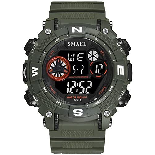 メンズアウトドアスポーツウォッチ防水ミリタリー複合機アナログアーミー腕時計戦術多機能カジュアルウォッチ,Army green