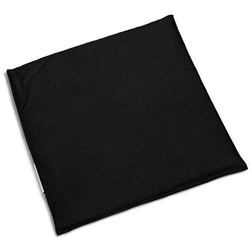 Kirschkernkissen 24x24cm schwarz | Wärmekissen und Kältekompresse. Kirschkernsäckchen für Mikrowelle, Backofen, Gefrierfach