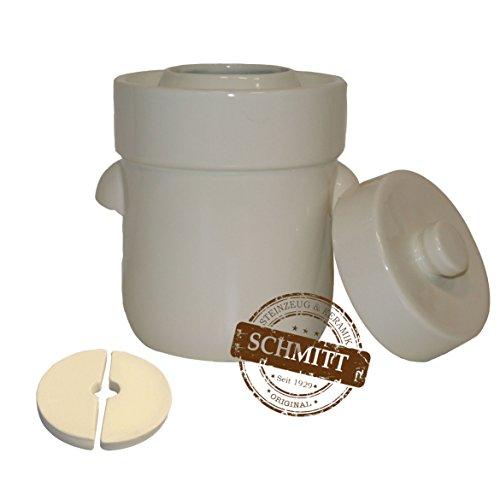 Gärtopf Sauerkrauttopf 3 Liter + Beschwerungssteine (weiß)