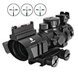 3. Beileshi Rifle Scope 4x32 Red/Green/Blue Triple Illuminated Rapid Range Reticle Scope with Top Fiber Optic Sight and Weaver Slots