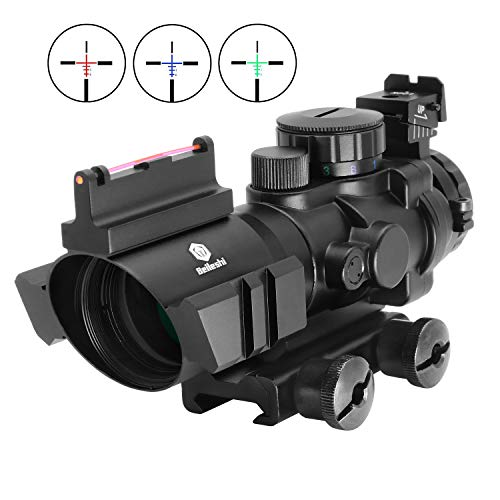Beileshi Rifle Scope 4x32 Red & Green & Blue Triple Illuminated Rapid Range Reticle Scope with Top Fiber Optic Sight and Weaver Slots