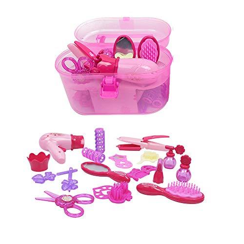 AZX Kinder Vorgeben Make-up Spielzeug Prinzessin Mädchen Schönheits-Spielzeug Rollenspiel-Kosmetik-Set Mit Spiegel, Haartrockner, Kamm und Zubehör Mit Koffer Rosa