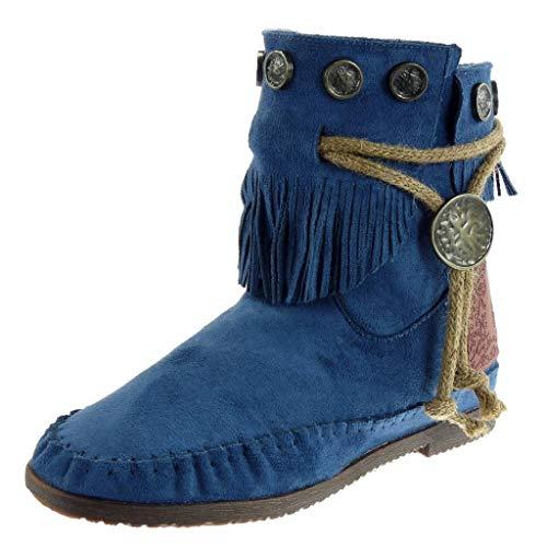 Angkorly - Damen Schuhe Stiefeletten - Mokassin Stiefel - Fransen - String Tanga - metallisch...