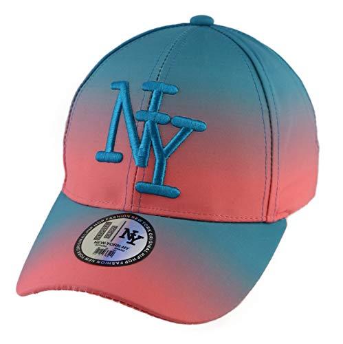NY Damen Hip Hop Baseball Cap zweifarbig Farbverlauf mit rundem Visier verstellbar, Farbe Rosa und Blau