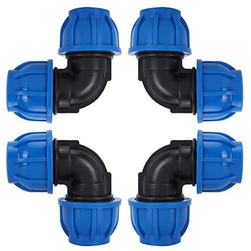 TOPINCN 4 Stücke 32mm bis 32mm Wasser Rohrbogen Adapter Stecker PE Kunststoff Schnellkupplung Montage Zubehör für Trinkwasserfilter