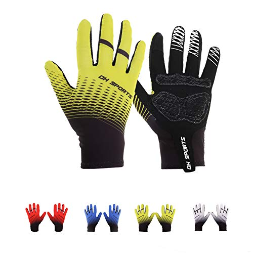 miuse fietshandschoenen, ademende & lichtgewicht volledige vinger mountainbike handschoenen Gel gevoerde Touchscreen MTB sporthandschoenen voor mannen en vrouwen