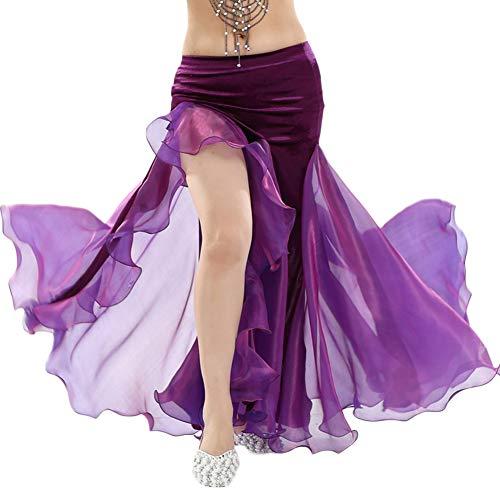 Donna Gonna Prestazioni Danza del Ventre Vestito Costume Gonna A Fessura Viola Scuro Taglia Unica