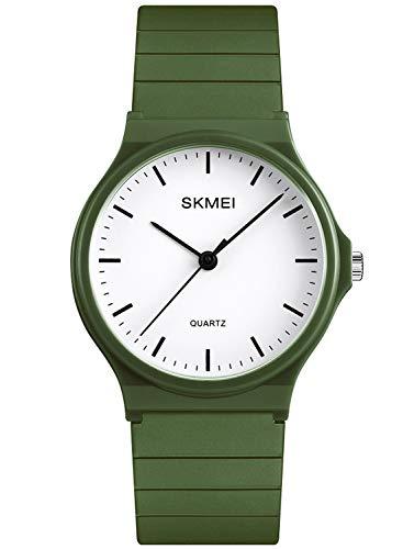 Reloj analógico de cuarzo para hombre y mujer, correa de silicona, simplicidad para deportes al aire libre, reloj de cuarzo, color verde