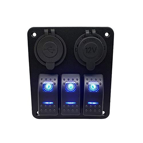 CAIZHIXIANG 3 Interruptor de la cuadrilla del Coche LED Barco Rocker Impermeable Panel de Port Switch 12V Doble Salida USB del Panel