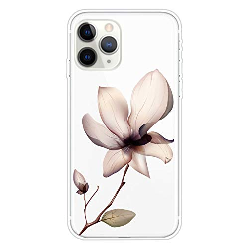 Miagon Transparent Case for iPhone 12 Pro Max,Lotus Flower Pattern Creaive Funny Clear Soft Ultra-Thin Flexible Silicone Drop-Protection Fully Protective Cover Case