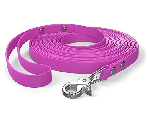 SNOOT 10m de Cable de Remolque, Correa para Perro, Lazo de Mano, Magenta, Muy Estable, Repelente a la Suciedad y al Agua.