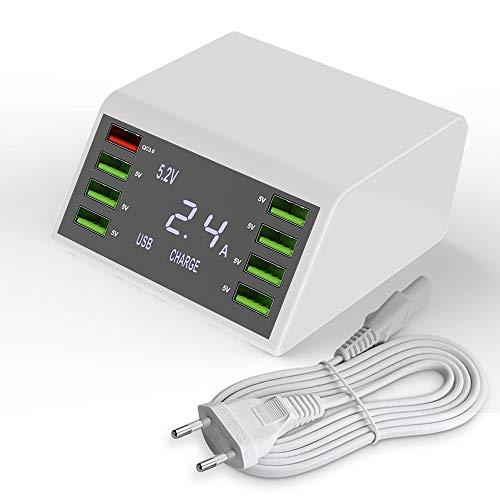 FShark Mehrere USB Ladegeräte USB Netzteil,60W/12A 8Port Desktop Ladegerät mit QC 3.0 und LCD-Display, Laden für iPhone, iPad und andere SmartGeräte.