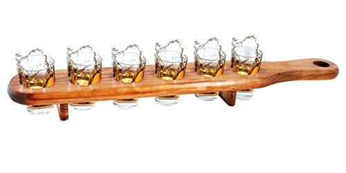 Bada Bing 6er Set Schnapsgläser Holzlatte Glas Pinnchen Shooter mit Ständer 2056