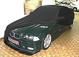 AMS Vollgarage Mikrokontur Schwarz mit Spiegeltaschen für BMW 3er (E36) Bj. 91-98, schützende Autoabdeckung mit Perfekter Passform, hochwertige Abdeckplane als praktische Auto-Vollgarage
