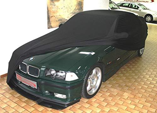 AMS Vollgarage Mikrokontur® Schwarz mit Spiegeltaschen für BMW 3er (E36) Bj. 91-98, schützende Autoabdeckung mit Perfekter Passform, hochwertige Abdeckplane als praktische Auto-Vollgarage