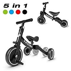 besrey 5 in 1 wielen balanceer fiets driewieler driewieler crace fietsen gids voor kinderen van 1 jaar tot 4 jaar - zwart *