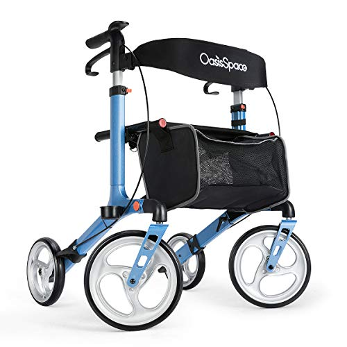 Deluxe Aluminum Rollator Walker, with 10'' Wheels Compact Folding Design Lightweight Baking Finish by OasisSpace (Blue)