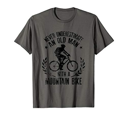 Mens Never Underestimate An Old Man With A Mountain Bike T-Shirt