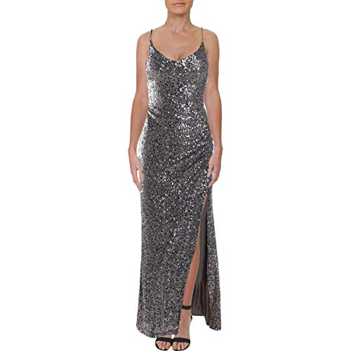 Betsy & Adam Womens Sequined Gathered Formal Dress Taupe 2