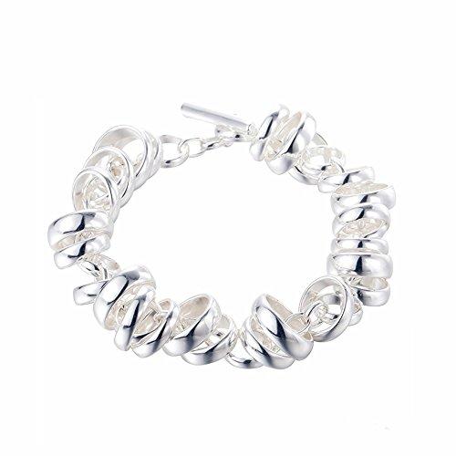 silverage pulsera plata 925con anillos 19.98cm