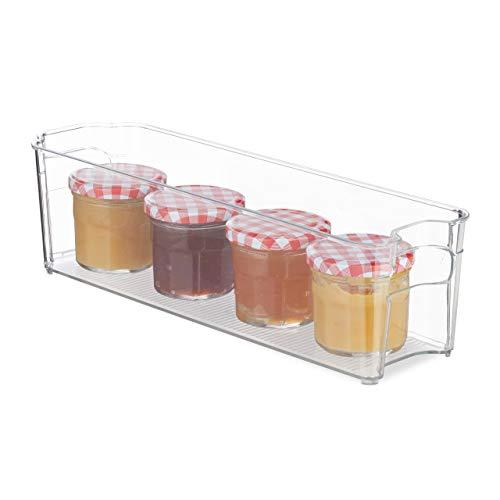 Relaxdays Kühlschrank Organizer, schmaler Küchen Organizer mit Griffen, für Lebensmittel, 10 x 11 x 37,5 cm, transparent