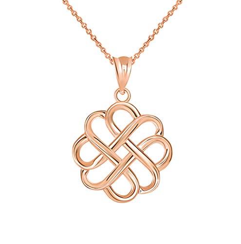 Fine 14k Rose Gold Endless Love Good Luck Irish Celtic Knot Pendant Necklace, 16'
