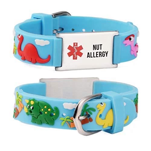 linnalove Nut Allergy Cartoon Blue Dinosaur Medical id Bracelet Parents Gift to Son, Daughter, Brother, Sister