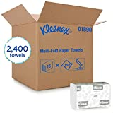 Kleenex Multifold Paper Towels (01890), White, 16 Packs/Case, 150 Tri Fold Paper Towels/Pack, 2,400 Towels/Case