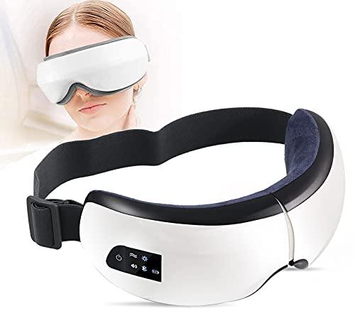 SLE Masajeador de Ojos, Masajeador Electrónico Plegable Recargable con Presión de Aire, Compresión del Calor, Bluetooth Música para Ojo Seco Relajarse Visión Ojo Oscuro Círculos Estrés Alivio