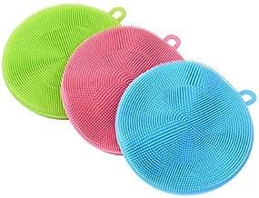 PRINCE Silicone Sponge Scrubber – Food Grade Multipurpose Dish WASH Tool (Multicolor, 3pcs)
