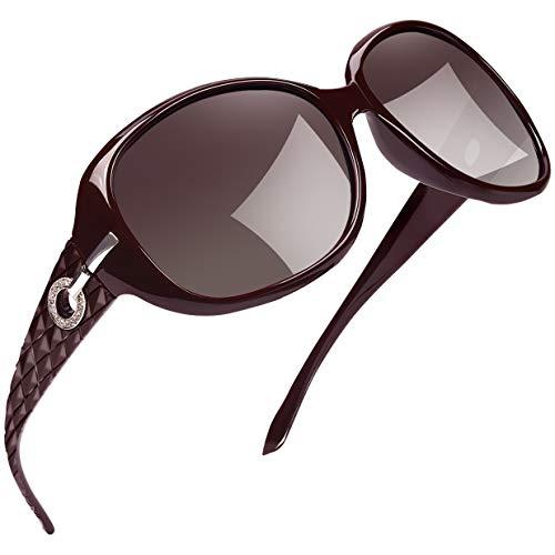 Joopin Gafas de Sol Mujer Polarizadas de Moda Protección UV400 de Gran Tamaño Gafas de Sol Señoras U9045 (Vino tinto)