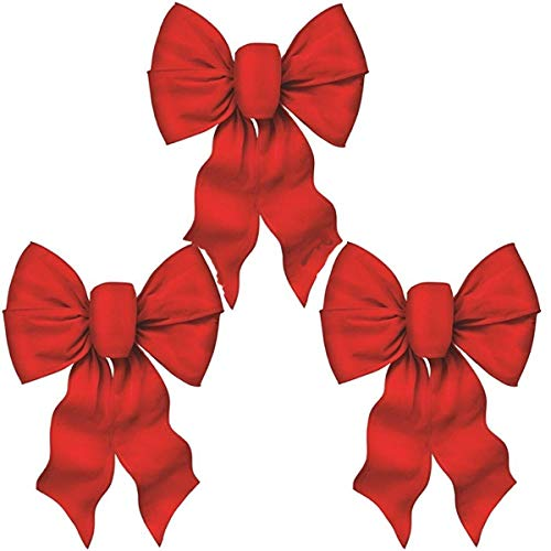 Rocky Mountain Goods Large Wired Red Bow - 12\' Wide by 18\' Long - Christmas Wreath Bow - Great for Large Gifts - Indoor/Outdoor - Hand Tied in USA - Waterproof Velvet - Attachment tie (3)