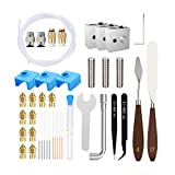 42PCS 3D Printer Parts Accessories Tool Set Cleaner Kit with Cleaning Needles Tweezers, Heater block Wrench Teflon Tube Throat for Ender 3 Pro Ender 5 CR-10 10S