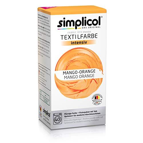 Simplicol Kit de Tinte Textile Dye Intensive Naranja: Colorante para Teñir Ropa, Tejidos y Telas Lavadora, Contiene Fijador para Colorante Líquido, Anti Alérgeno, No Destiñe, Seguro para su Lavadora