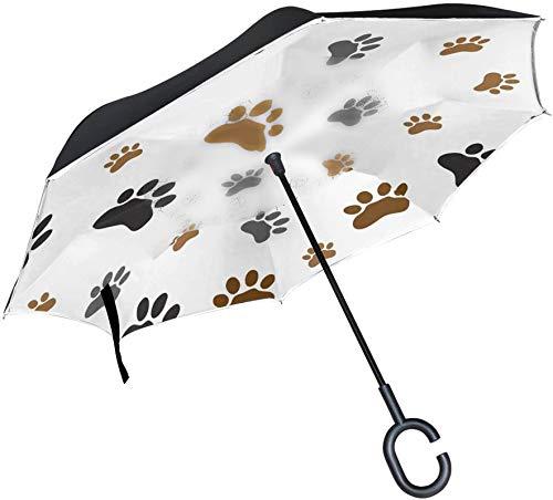 Paraguas invertido con estampado de pata de perro animal marrón negro,mango en forma de C,a prueba de viento,a prueba de rayos UV,para viajes al aire libre,paraguas reversible para coche