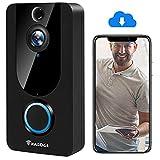 Video Doorbell [Upgrade] Wireless Doorbell Camera IP5 Waterproof HD WiFi Security Camera Real-Time Video for iOS&Android Phone, Night Light (Doorbell Only)