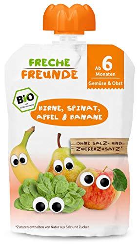 FRECHE FREUNDE Bio Beikost-Quetschie Birne, Spinat, Apfel & Banane, Babynahrung mit Obst & Gemüse ab dem 6. Monat, glutenfrei & vegan, 6er Pack (6 x 100g)
