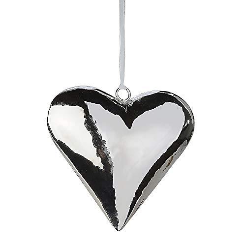 Formano Deko Herz gefertigt aus Edelstahl zum Aufhängen, Höhe ca. 18 cm, Silber-glänzend