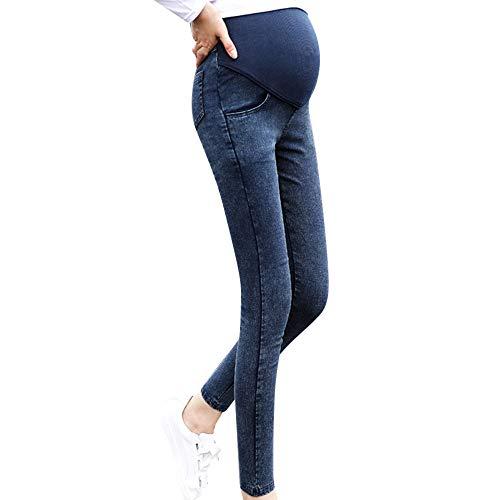 luoluoluo Jeans Premaman Donna,Leggings Premaman,Pantaloni Premaman Slim, Pantaloni Gravidanza in Acetato,M-XXXL (Blu, M)