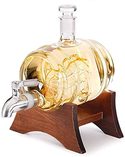 Juego de Jarras y Vasos de Whisky Decantadores De Navegación Spigot Spigot Spigot Dispensador De Licores Soporte De Madera Con Vino De Grifo Para Tequila Bourbon Scotch Rum Alcohol Regalos Relacionado