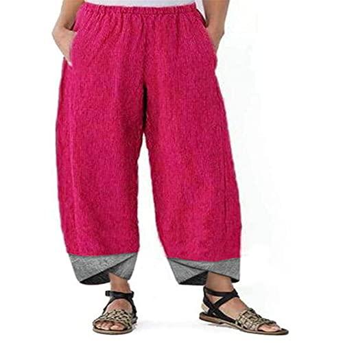 Primavera Y Verano Pantalones De Pierna Recta Sueltos con Costuras De Color SóLido