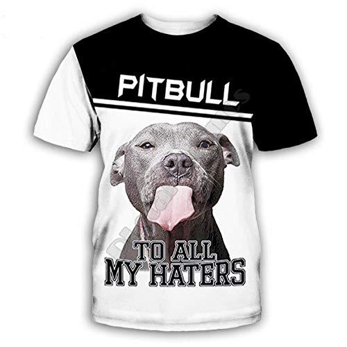 Impresión Digital 3D Perro Animal Pitbull Camiseta De Manga Corta Casual Graphic Tees Tops Moda