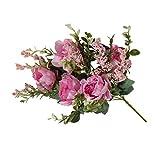 5-Cabeza falsificación Flor Artificial del Peony de la Flor de la simulación del Ramo Floral de la decoración de Ministerio del Interior de Tela Falso Ramo de peonía, Rosa roja
