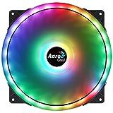 Aerocool DUO20, Ventilador PC 200mm, ARGB LED Dual Ring, Antivibración, Negro