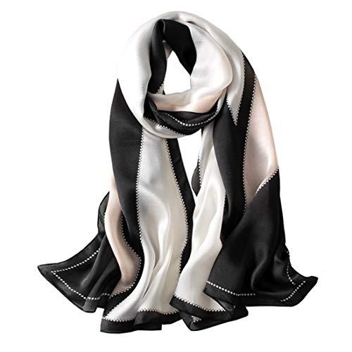Cici and Liya lente sjaal multifunctionele zijden sjaal rechthoekig groot formaat zee zonwering sjaal zwart