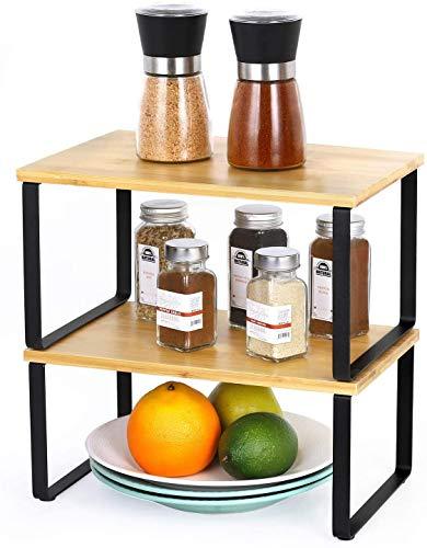 LIANTRAL Bambus Regaleinsatz im Küchenschrank,Erweiterbarer stapelbarer Organizer im Schrank Arbeitsplatten Stauraum Lösung für Gewürze, Gläser, Kräuter